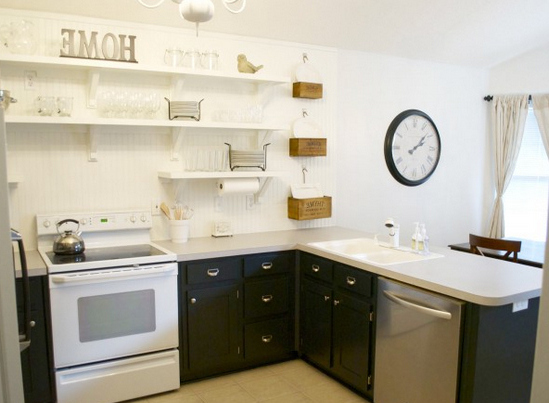 кухни без навесных шкафов и с открытыми полками