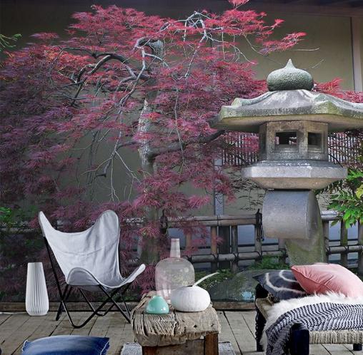 Фотообои в интерьере в японском стиле