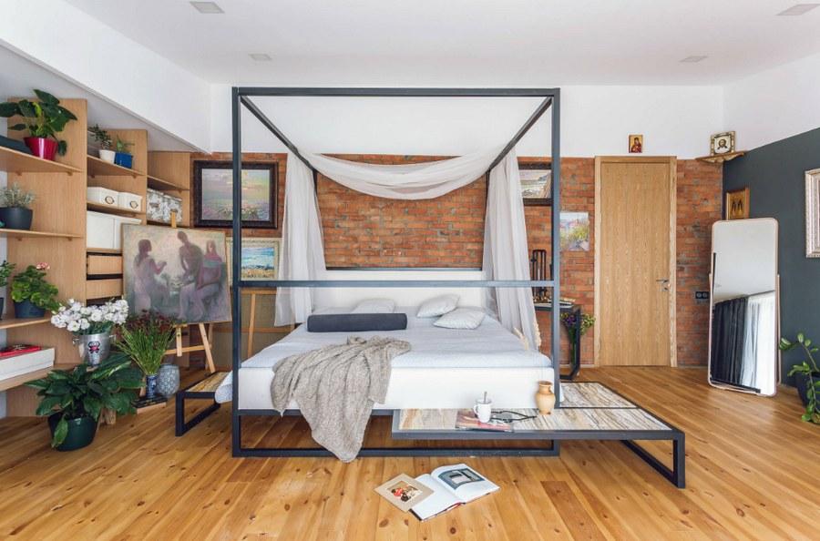 Фото спальни в стиле лофт