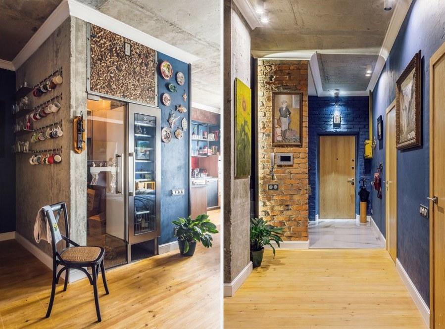 Коридор квартиры в стиле лофт